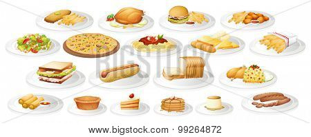Different kind of food on plates illustration