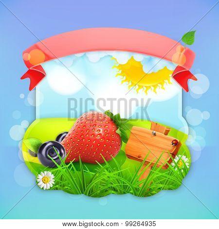 Juicy berries, vector label design