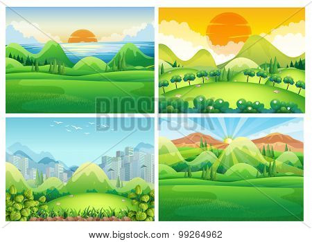 Four scenes of nature at daytime illustration