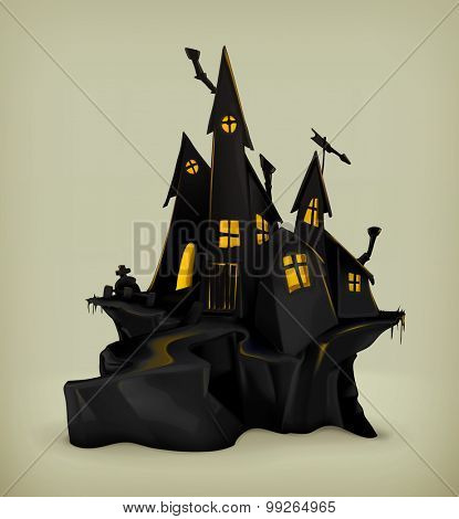 Halloween, witch castle vector silhouette