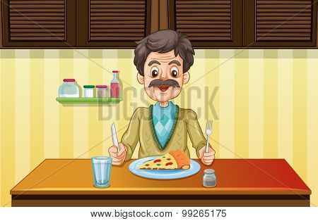 Old man eating in the dining room illustration