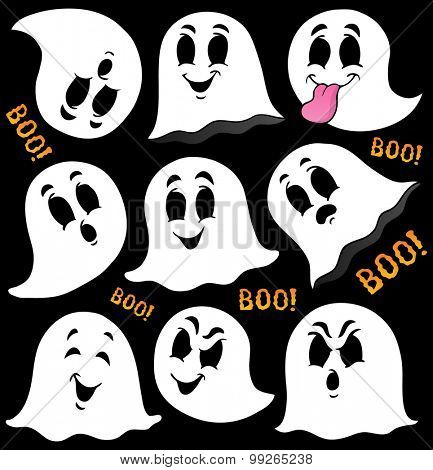 Various ghosts on black background - eps10 vector illustration.