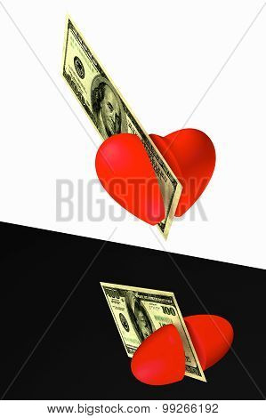 The Heart Cut By A Banknote