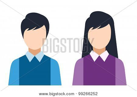 Man and woman silhouette icons. Pare, business man and business woman silhouette. People abstract icons. Isolated. Avatar, person face, couple.