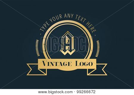 Vintage old style logo icon template. Vintage retro style. A letter. Arrows, labels, ribbons, decor, shield logo, knight logo, premium quality vector. Logo design. Retro style