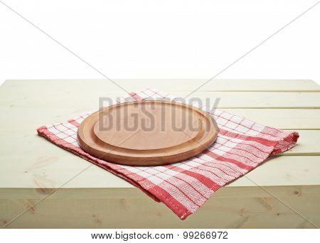 Tablecloth or towel over the wooden table