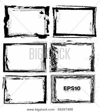 Set of black grunge textured frames