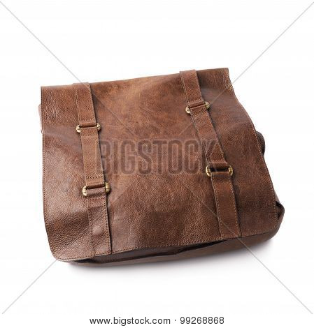 Brown leather shoulder bag isolated