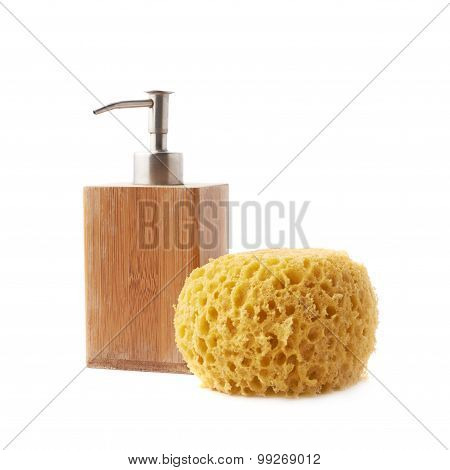 Soap dispenser and yellow sponge