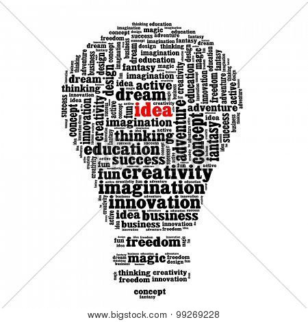 Idea, creativity and innovation in word collage