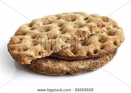 Round rye crispbreads.