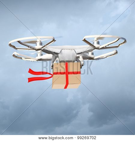 Drone parcel delivery. Digital artwork fictional vehicle on shopping theme.