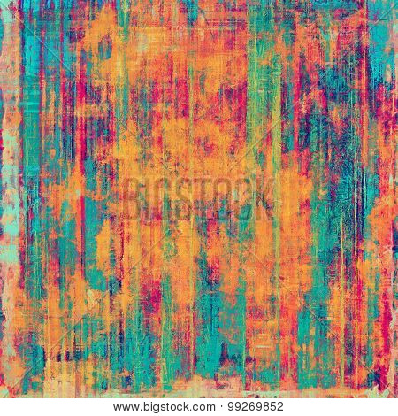 Grunge texture with decorative elements and different color patterns: red (orange); green; blue; pink