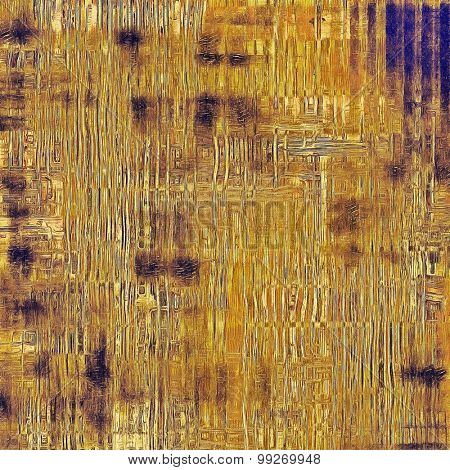 Grunge texture with decorative elements and different color patterns: yellow (beige); brown; gray; blue