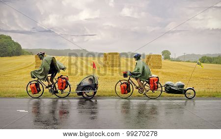 Bicycle Tourists With Child