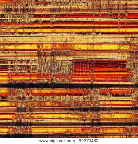 Abstract composition on textured, vintage background with grunge stains. With different color patterns: yellow (beige); brown; red (orange); black