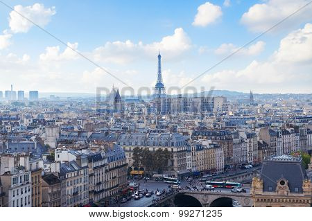 Paris Skyline View From Notre Dame