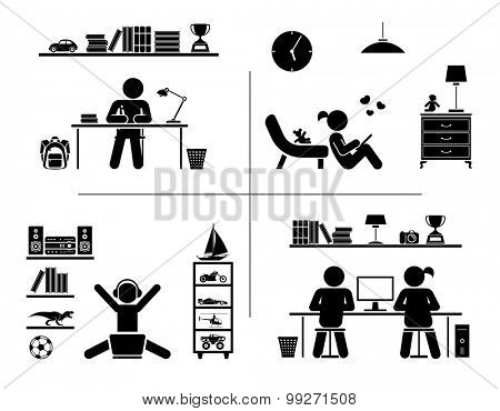 Vector illustration of children doing homework, learning and spending time in their rooms. Pictogram icon set.