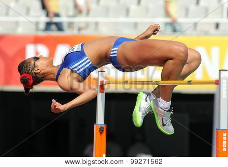 BARCELONA - JUNE, 13: Dior Delophont of France jumping on Hight jump event of of the 20th World Junior Athletics Championships at the Olympic Stadium on July 13, 2012 in Barcelona, Spain