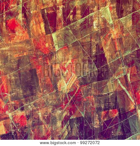 Aging grunge texture, old illustration. With different color patterns: brown; red (orange); purple (violet); green