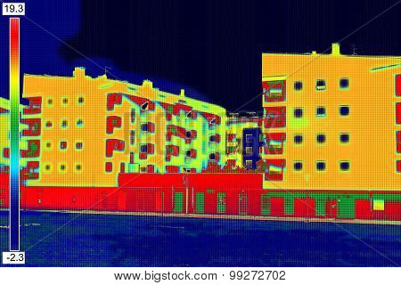 Thermovision Image On Residential Building
