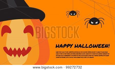 Halloween Design Template With Pumpkin, Spiders And Place For Text