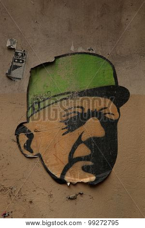 PARIS, FRANCE - MARCH 2, 2015: Charles de Gaulle stencil.  He was a French general, resistant. He was the leader of Free France and head of the Provisional Government of the French Republic 1944-46.