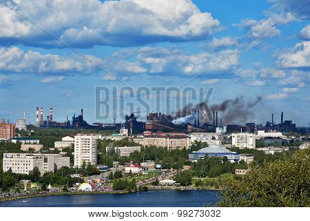 Top View Of The Center Nizhny Tagil And Factory With Smoke And Air Pollution