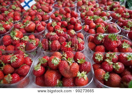 Fresh juicy strawberry on the market.
