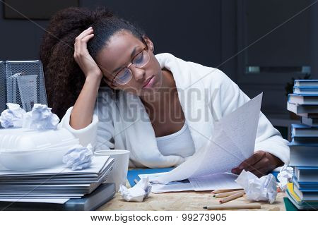 Female Student Learning At Night