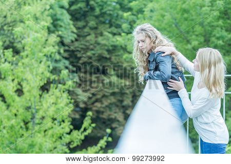 Girl Saving Life Of Woman
