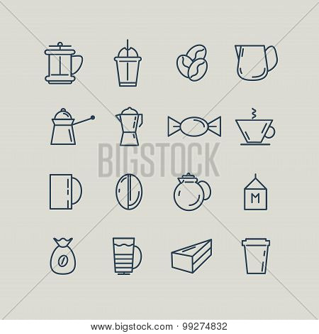 Set of line icons. Coffee, Turk, French press, cup, milk. Vector
