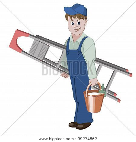 The Decorator Or Handyman Standing With Ladder And A Bucket Of Glue