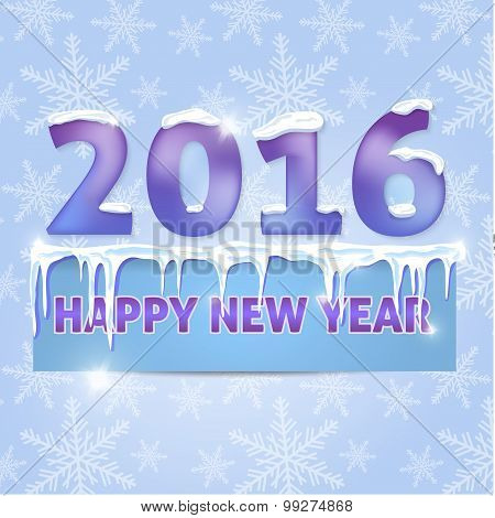 Card. Happy New Year 2016. Snowflakes, icicles, snow. Vector ill