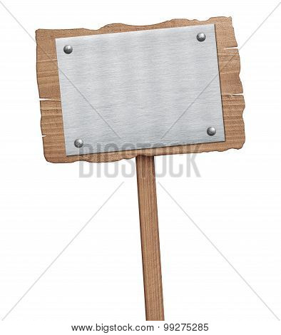 Old weathered wooden sign with nailed metal plate isolated on white