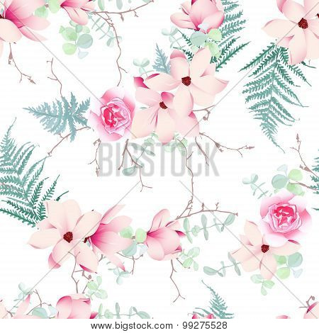 Chinese magnolia roses and fern light seamless vector pattern