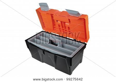 Opened Empty Toolbox Made Of plastic Material  Black And Orange.