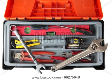 Orange Black Plastic Toolbox With Set Of Old Hand Tools.