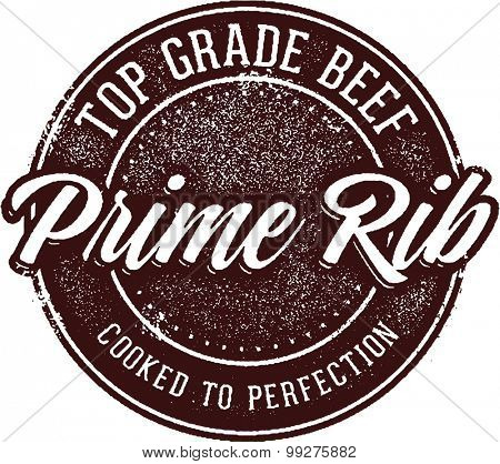 Prime Rib Steak Menu Stamp