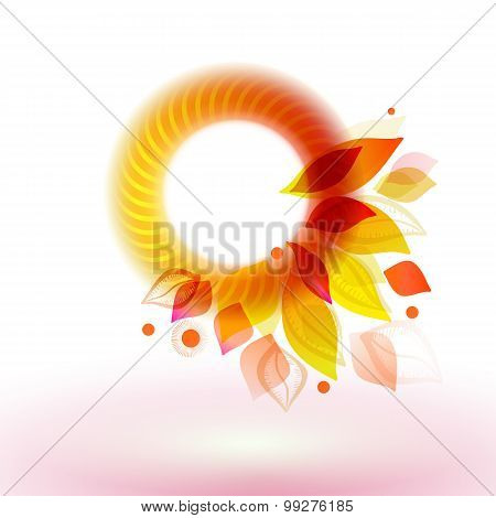 Season Autumn Circle Label With Leaves
