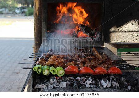 Shish kebab on charcoal.