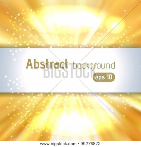 Background Of Yellow Luminous Rays With Place For Text, Vector Illustration