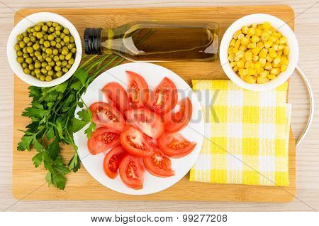 Tomatoes, Green Peas, Sweet Corn, Parsley And Olive Oil