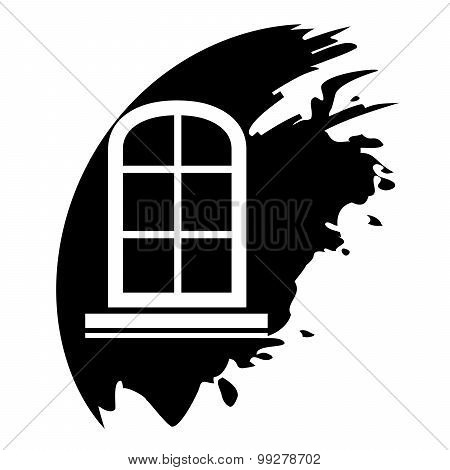 Window Frame - Vector Black Icon Isolated
