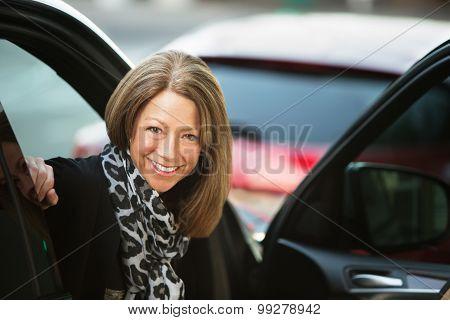 Happy Woman In Urban Scene
