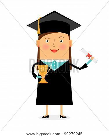 Happy student in academic cap with diploma and trophy cup