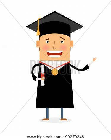 Happy student in academic cap with diploma and medal