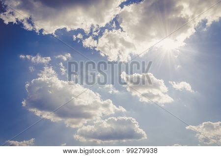 cloudscape - blue sky, clouds, shining sun
