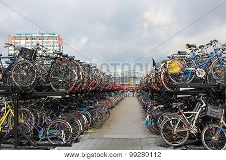 Typical Bicycle Parking In Amsterdam, Netherlands