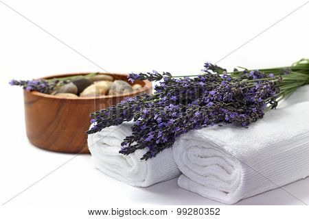 Beautiful Lavender Spa Set On White Background